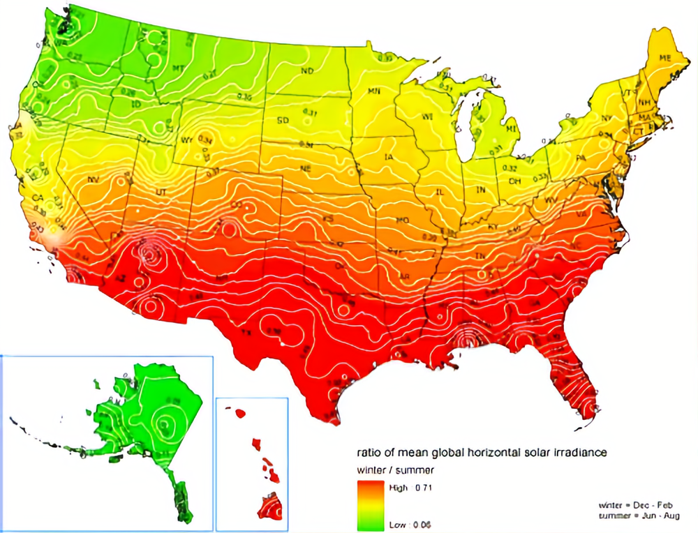 United States Map showing solar irradiance